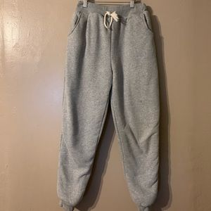 Grey fleece lined joggers with draw string